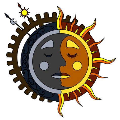 moon tattoo png moon sun steunk tattoo color 3 by dimensionten on