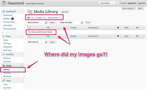 not showing media library not showing images on