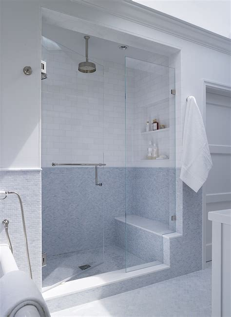 walk in shower shower seat recessed tile niche frameless glass interior house ideas