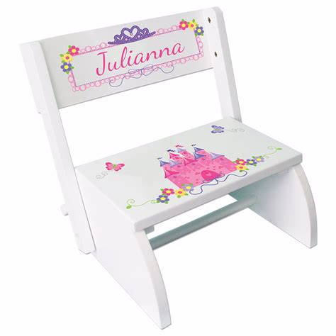 personalized step stool personalized princess step stool custom white stepping stools