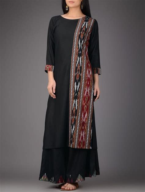 pattern of kalidar kurta buy black red ivory ikat cotton silk kurta women kurtas
