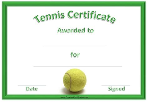 Tennis Certificate Template Free free tennis certificate templates customizable printable