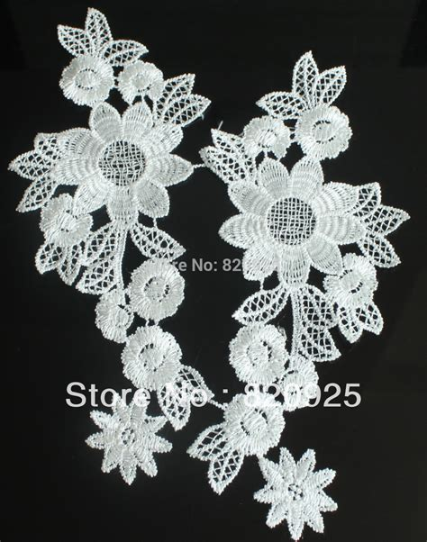5 pair mirror white flower floral lace fabric sewing trim