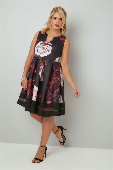 Sale Flower Panel Black Dress Sm black multi print skater dress with notch neck