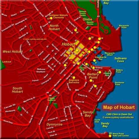 map of hobart city hobart maps central city attractions and museums