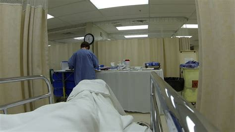 er bed hospital bed patient after emergency surgery pov hd