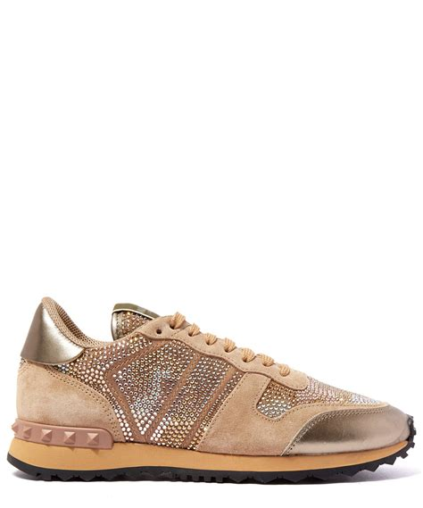 s valentino sneakers valentino camo embellished sneakers in metallic lyst