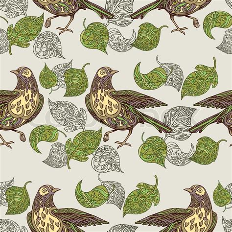 classic bird wallpaper vintage background birds and leafs fashion seamless