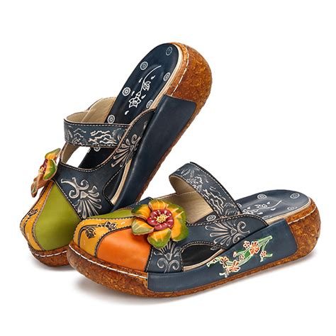 Topshops Slippers Collection Are Comfy Cheap And As A Button by Socofy Vintage Colorful Leather Hollow Out Backless Flower