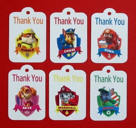 printable thank you cards paw patrol paw patrol thank you tags paw patrol by theblissfulbaker
