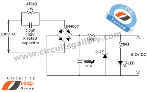 capacitor drop power supply transformer less ac to dc power supply circuit using dropping capacitor circuits gallery
