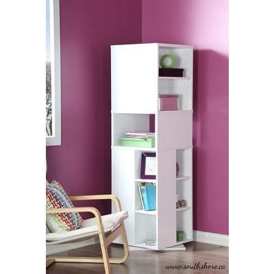 south shore reveal revolving bookcase white