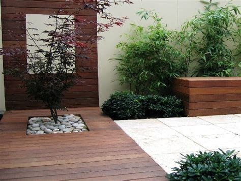 Modern Gardens Ideas Modern Landscape Design Same From A Different View Point Tree Pebbles Decking Pavers Garden