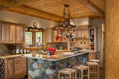 Rustic Log Kitchen Cabinets The Walshes Efficient Kitchen Features Rustic Hickory Cabinets Ceramic Tile Backsplash And