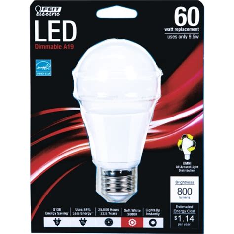 Lu Led Di Ace Hardware feit electric led bulb 9 5 watts 800 lumens a line a19 4 5 in 1 pk soft white bpom60 830 led