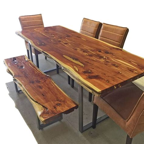 live edge dining table and matching bench horizon home