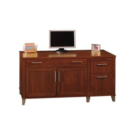 bush somerset 60 quot wood credenza hansen cherry computer