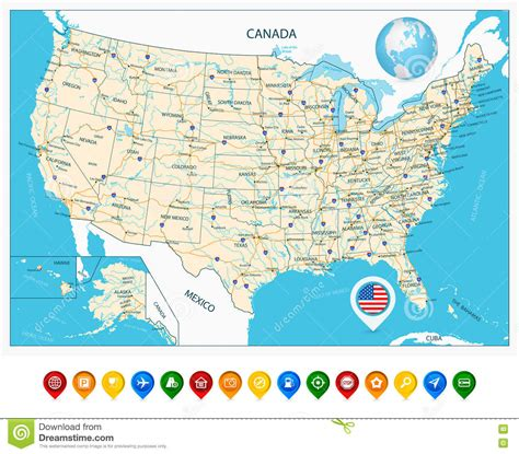 united states map with rivers and cities highly detailed road map of united states and colorful map