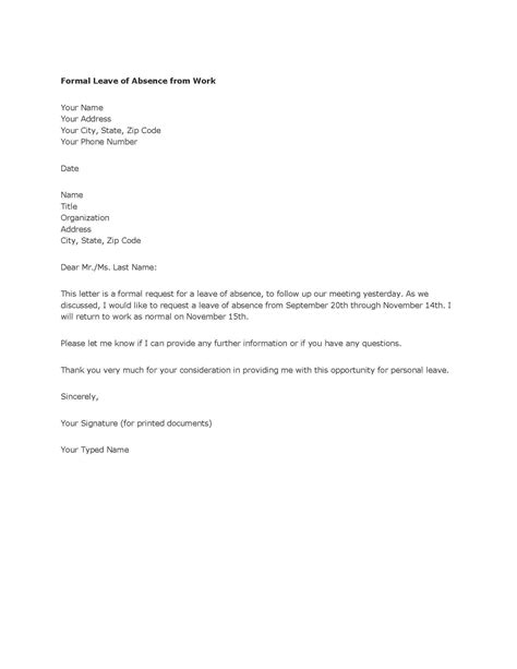 Sle Letter For Absence Without Official Leave Fresh Essays Request Letter For Leave From Work