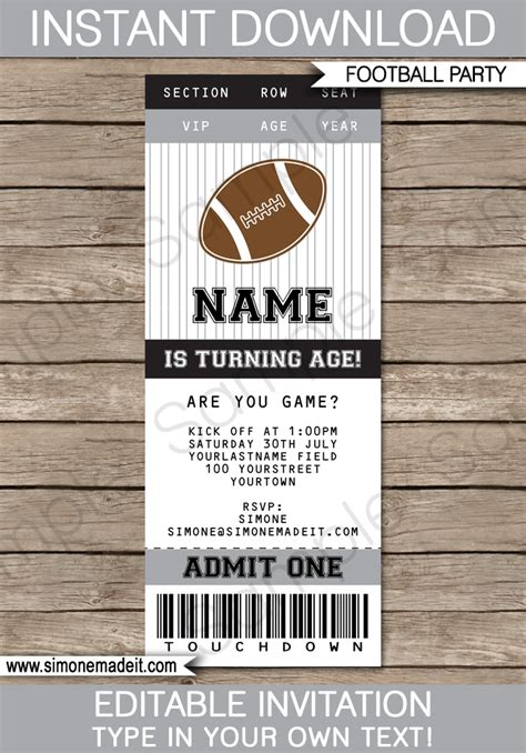 Black And Gray Silver Football Party Ticket Invitation Template Soccer Ticket Invitation Template Free