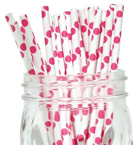 50pcs Box Souvenir Ultah T1606 Polkadot Pink polka dot paper straws 50pcs bubblegum pink