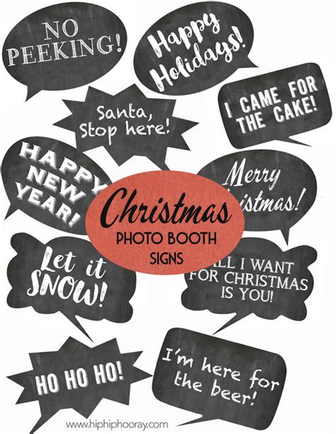 photo booth props printable word bubbles christmas holiday chalkboard speech bubble slogans
