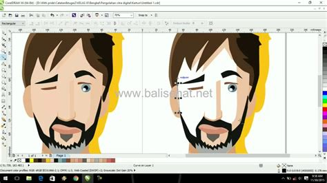 tutorial vector corel draw x6 how to make cartoon beard man in coreldraw x6 vector art