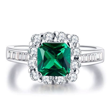 pav 233 square cut aaa green cz platinum plated engagement