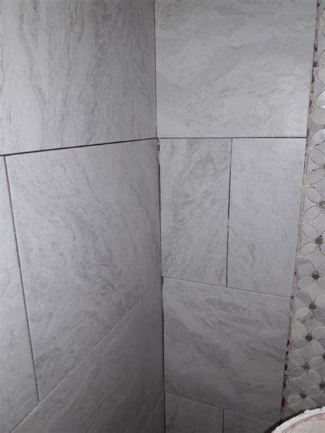 Thinset For Shower Tile by Shower Tile Grout Lines Crooked And Lack Of Mortar Thinset