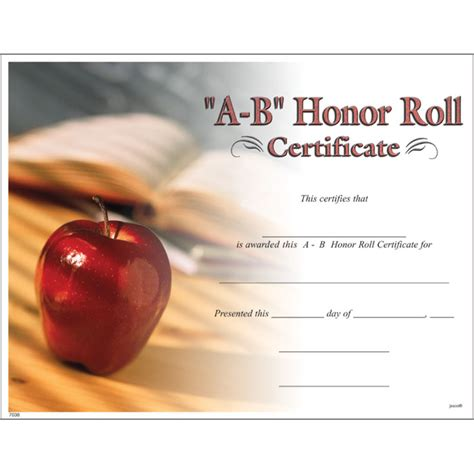 a b honor roll certificate jones school supply