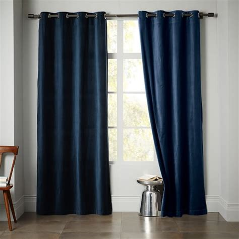 velvet grommet curtains velvet grommet curtain regal blue west elm