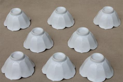Kitchen Collectables Pure White Porcelain Rice Bowls Set Of 8 Lotus Flower