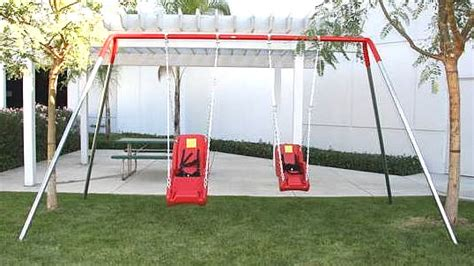 high end swing sets accessible dual swing structure