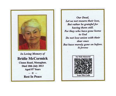 how to make a memorial card memorial cards eulogy eulogy