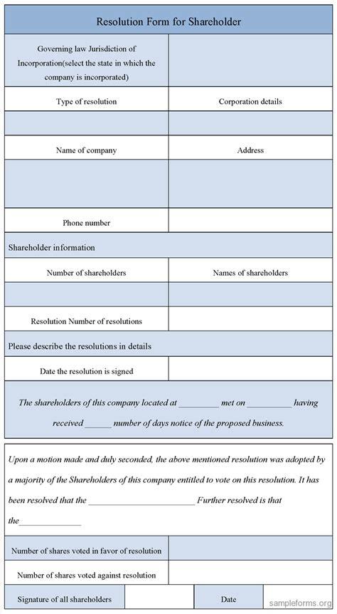 Blank Resolution Form For Shareholder Sle Forms Shareholder Resolution Template