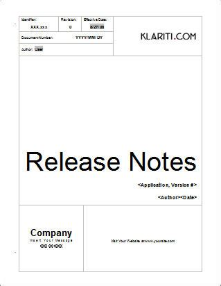 release notes template for software development release notes 17 page ms word template with sle entries