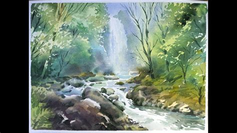 watercolor waterfall tutorial watercolor landscape painting forest waterfall youtube