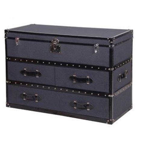 Leather Storage Drawers by Grey Felt And Black Leather Storage Trunk With Drawers