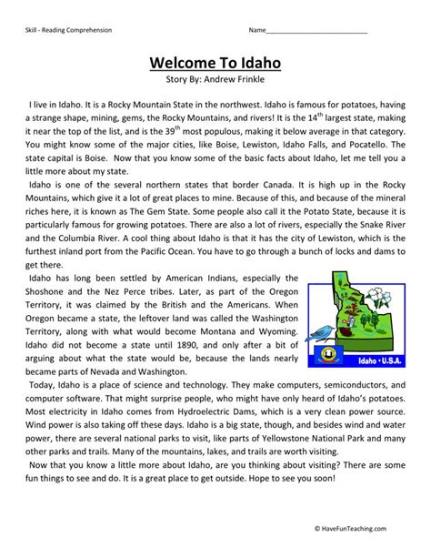 Fourth Grade Reading Worksheets by Reading Comprehension Worksheet Welcome To Idaho