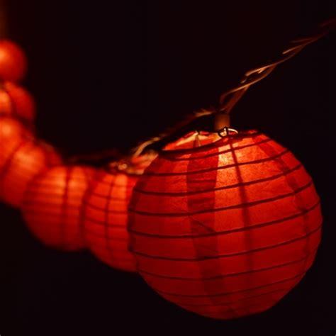 10 Socket Red Round Paper Lantern Party String Lights 4 Paper Lantern String Light