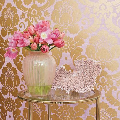Beautiful Wallpaper Design For Home Decor by Wallpaper Golden Flower Design With Big Vase