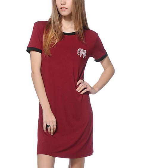 Ringer T Shirt Dress lunachix erin elephant burgundy ringer t shirt dress
