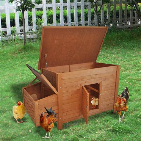 pawhut wooden backyard chicken coop w nesting box