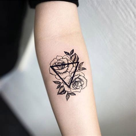 triangle tattoo designs salix vintage black floral sunflower temporary