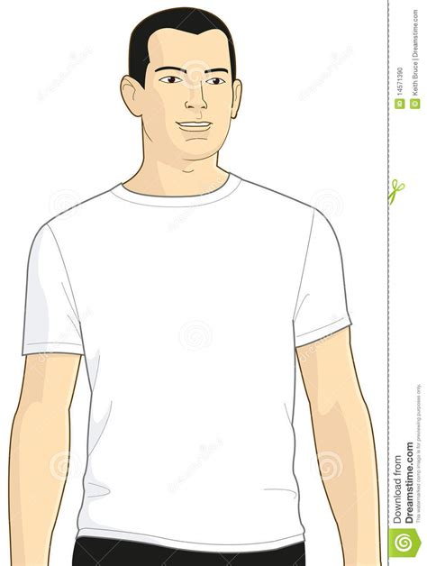blank white t shirt model man 3 stock illustration image