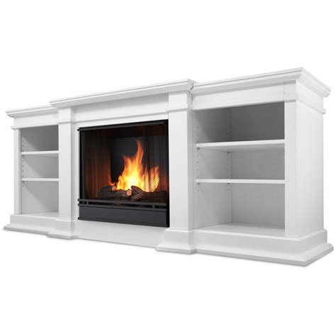 White Gas Fireplace by Real Fresno 71 Inch Gel Fireplace Media Console