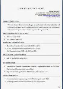how should a resume be formatted ca inter resume format