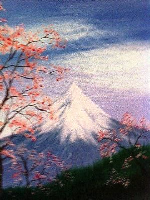 guest artist: mount fuji cherry blossoms – oil painting