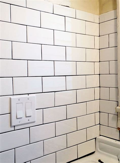 white subway tile black grout kitchen to cook in pinterest