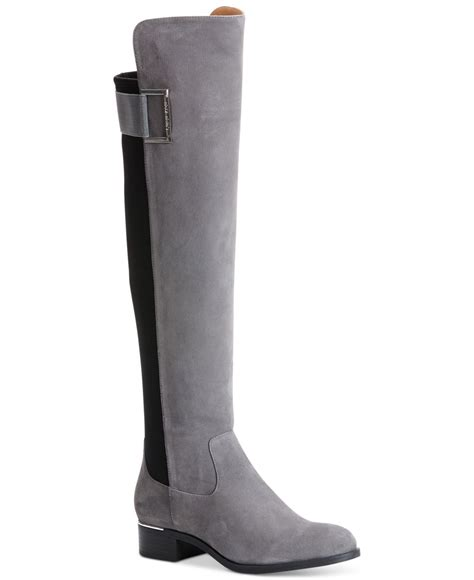 calvin klein cylan the knee boots in gray grey suede